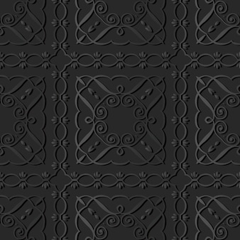 Donkere papierkunst curve spiral square cross frame vine line