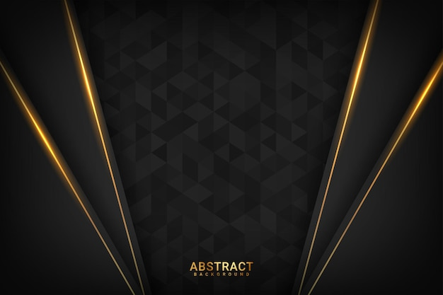 Donkere premium achtergrond met luxe donkere gouden geometrische elementen