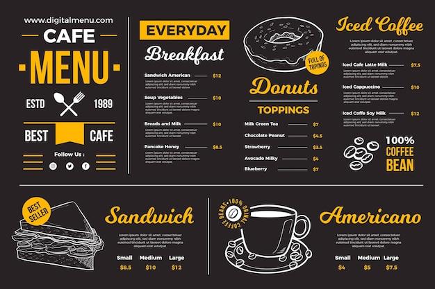 Donkere restaurant menusjabloon voor digitaal platform Premium Vector