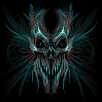 Donkere schedel vector illustratie