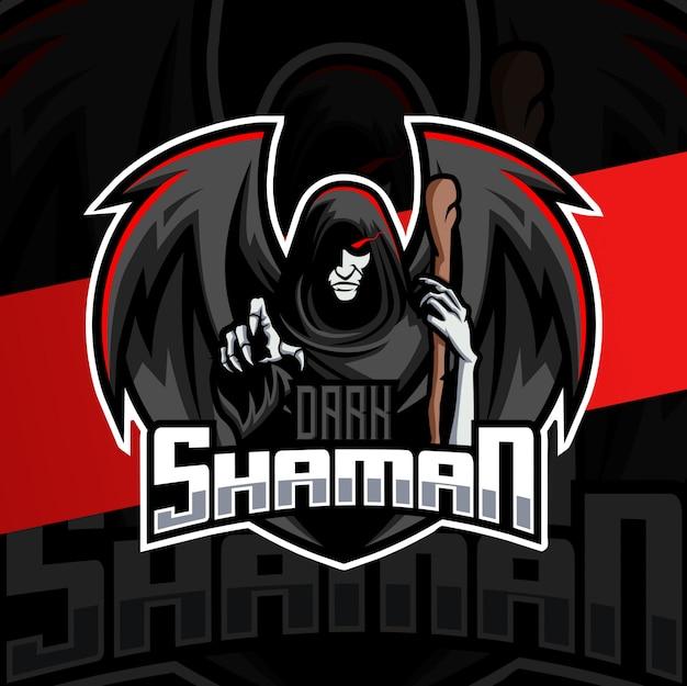 Donkere sjamaan mascotte esport logo ontwerp