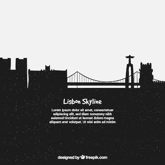 Donkere skyline van lissabon