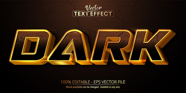 Donkere tekst, glanzend goudstijl bewerkbaar teksteffect