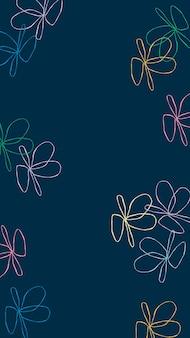 Donkere telefoon wallpaper achtergrond vector, schattige bloem lijntekeningen