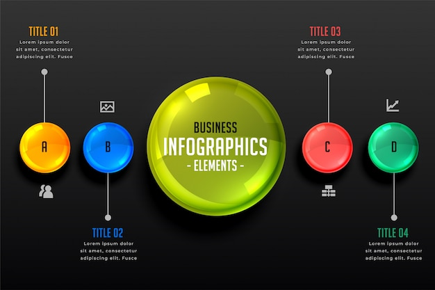 Donkere thema infographics stappen sjabloon