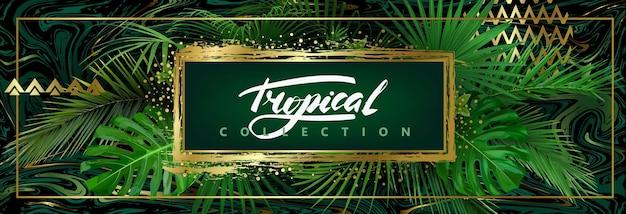 Donkere tropische achtergrond met groene bladeren en gouden abstracte elementen. vector sjabloon