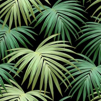 Donkere tropische achtergrond met jungle planten. naadloos tropisch patroon met groene palmbladen.
