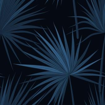 Donkere tropische achtergrond met jungle planten. naadloos tropisch patroon met sabal palmbladen. denim indigokleuren.