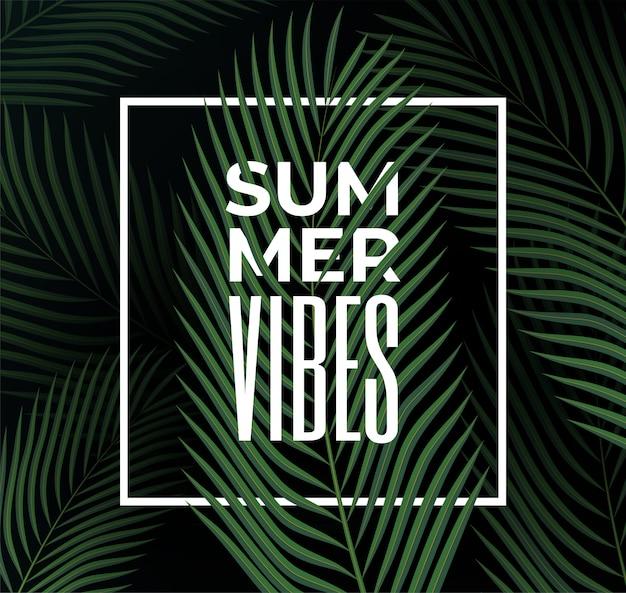 Donkere tropische bladerenachtergrond met de titel van de zomervibe in wit kader. zomerfeest of evenement poster sjabloon. illustratie