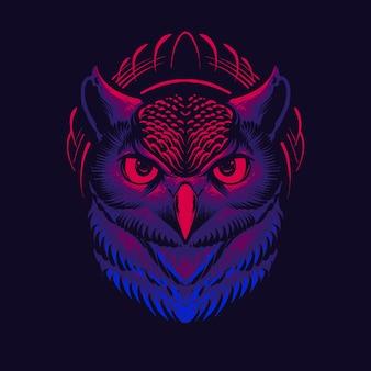 Donkere uil hoofd afbeelding ontwerp