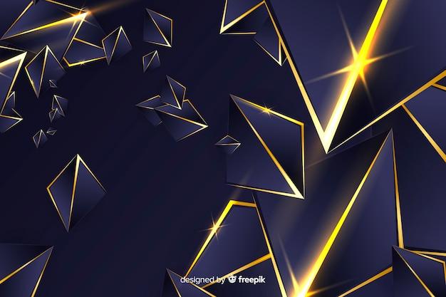 Donkere veelhoekige achtergrond met gouden lijnen