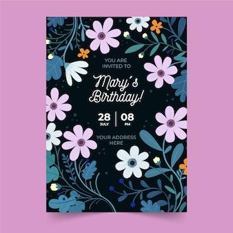 Donkere verjaardag uitnodiging sjabloon met bloemen