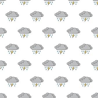 Donkere wolken met regendruppels en thunder strom naadloos patroon. weer fenomenen thema illustratie