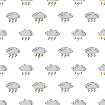 Donkere wolken van thunder strom naadloze patroon. weer fenomenen thema illustratie