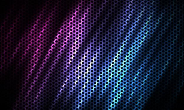 Donkere zeshoek tech kleurrijke sport achtergrond met koolstofvezel