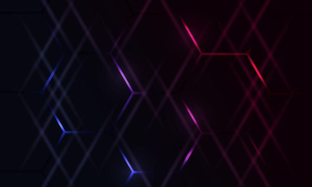 Donkere zeshoekige gaming abstracte achtergrond met blauwe en roze gekleurde heldere flitsen