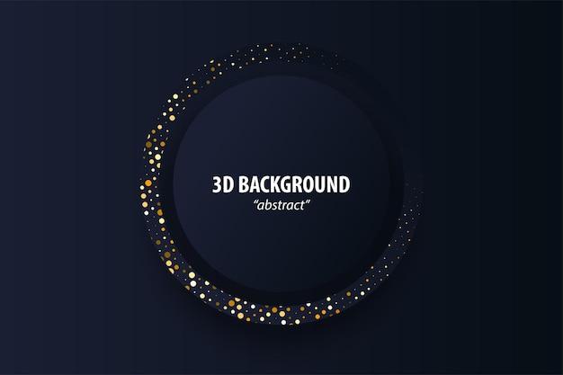 Donkere zwarte abstracte geometrische achtergrond 3d papier gesneden ontwerp in lagen gouden kleur halftoon