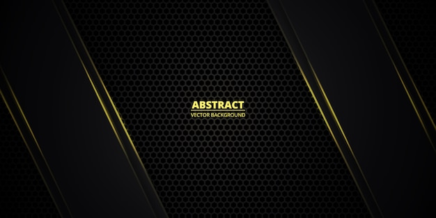Donkergeel zeshoekig gestructureerd raster met lichtgevende lijnen en highlights. technologie, sport, futuristisch, modern, luxe abstracte achtergrond.