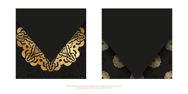 Donkergekleurde flyer met gouden vintage patroon