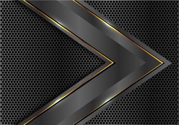 Donkergrijs metallic gouden lijnpijl snelheid richting cirkel mesh.