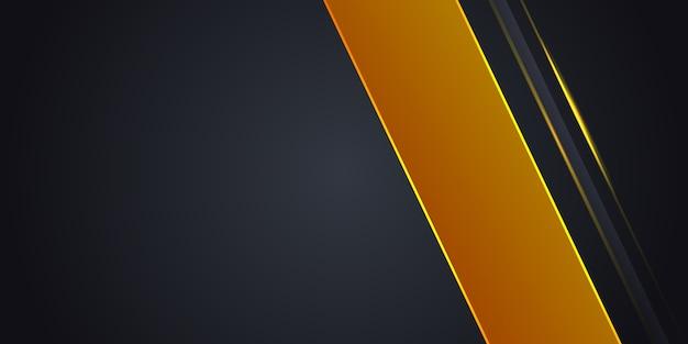 Donkergrijze abstracte achtergrond met gele lichte lijn op lege ruimte.
