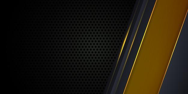 Donkergrijze achtergrond met gele lichtgevende lijnen