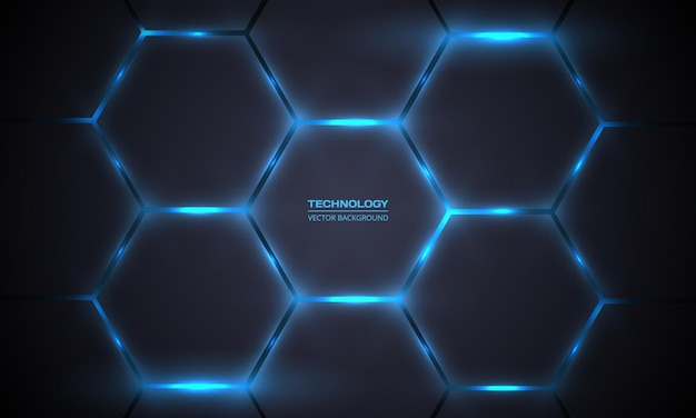 Donkergrijze en blauwe zeshoekige technologie abstracte achtergrond