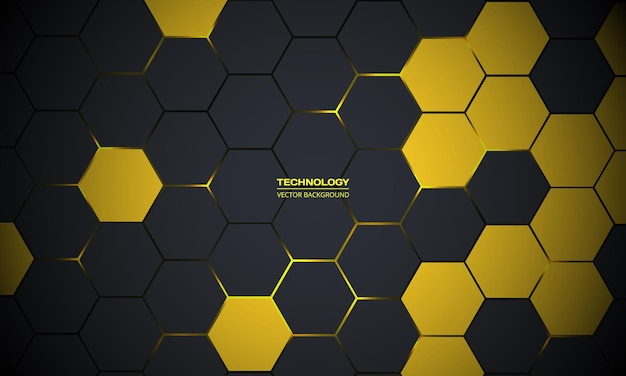 Donkergrijze en gele abstracte technologie zeshoekige achtergrond