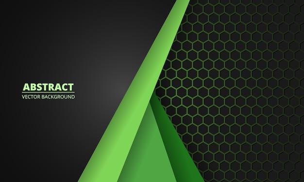 Donkergrijze en groene koolstofvezel honingraat achtergrond met groene lijnen. technologie moderne futuristische zeshoek abstracte achtergrond.