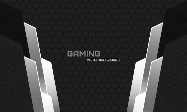 Donkergrijze en zwarte abstracte gaming-achtergrond