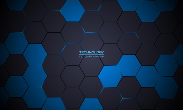 Donkergrijze zeshoekige abstracte technische achtergrond