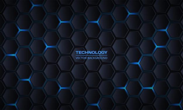 Donkergrijze zeshoekige technologie abstracte achtergrond