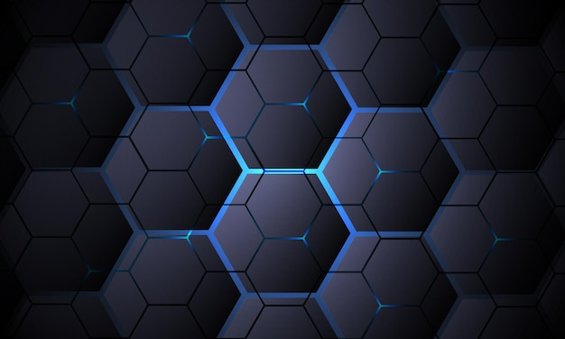 Donkergrijze zeshoekige technologie vector abstracte achtergrond