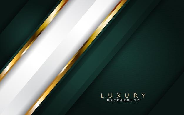 Donkergroene abstracte luxeachtergrond met realistisch gouden ontwerp