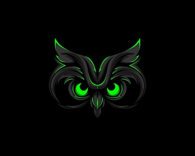 Donkergroene uil-logo mascotte