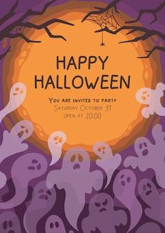 Donkerpaarse achtergrond voor halloween-banner