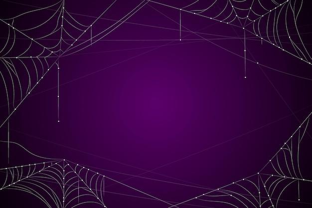 Donkerpaarse halloween-achtergrond met spinneweb