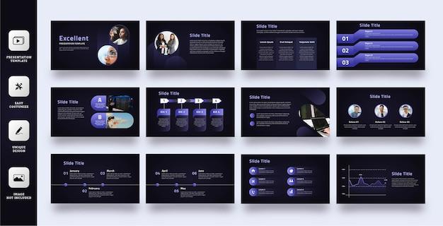 Donkerpaarse moderne zakelijke presentatiesjabloon