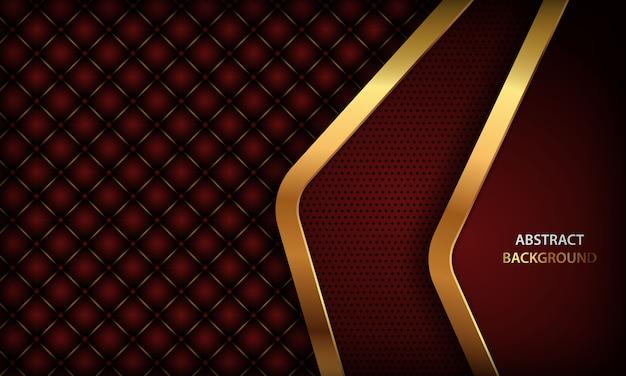 Donkerrode achtergrond met gouden element en realistisch leer met knopen