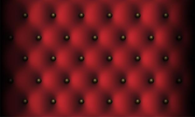 Donkerrode lederen vintage luxe textuur met knoppen achtergrond