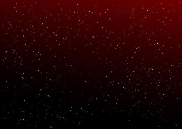 Donkerrode nachthemel en gouden sterrenachtergrond