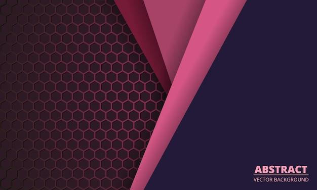 Donkerroze zeshoek koolstofvezel achtergrond met gekleurd papier lijnen.