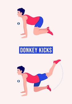 Donkey kicks oefening mannen workout fitness aerobic en oefeningen