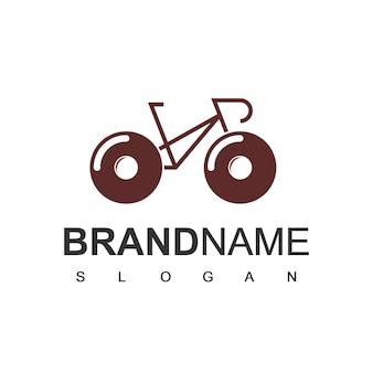 Donut bike logo ontwerpsjabloon Premium Vector