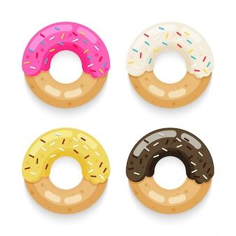 Donut bovenaanzicht set geïsoleerd