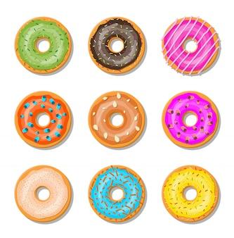 Donut cake set geïsoleerd