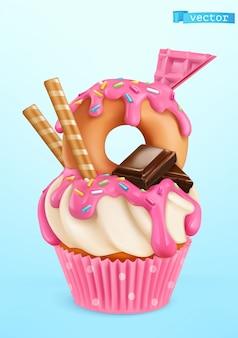 Donut cupcake illustratie