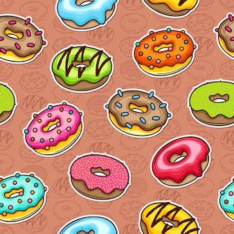 Donut doodle kleurrijke naadloze patroon