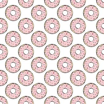 Donut heerlijke traktatie versierd met hartjes. cartoon hand getrokken naadloze patroon