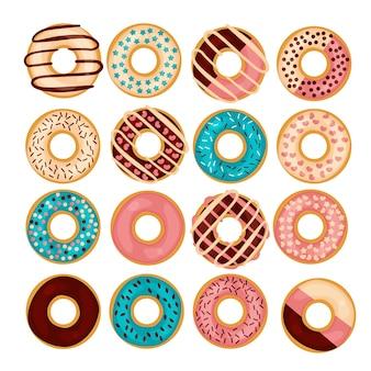 Donut illustratie set geïsoleerd op een wight achtergrond in vlakke stijl.